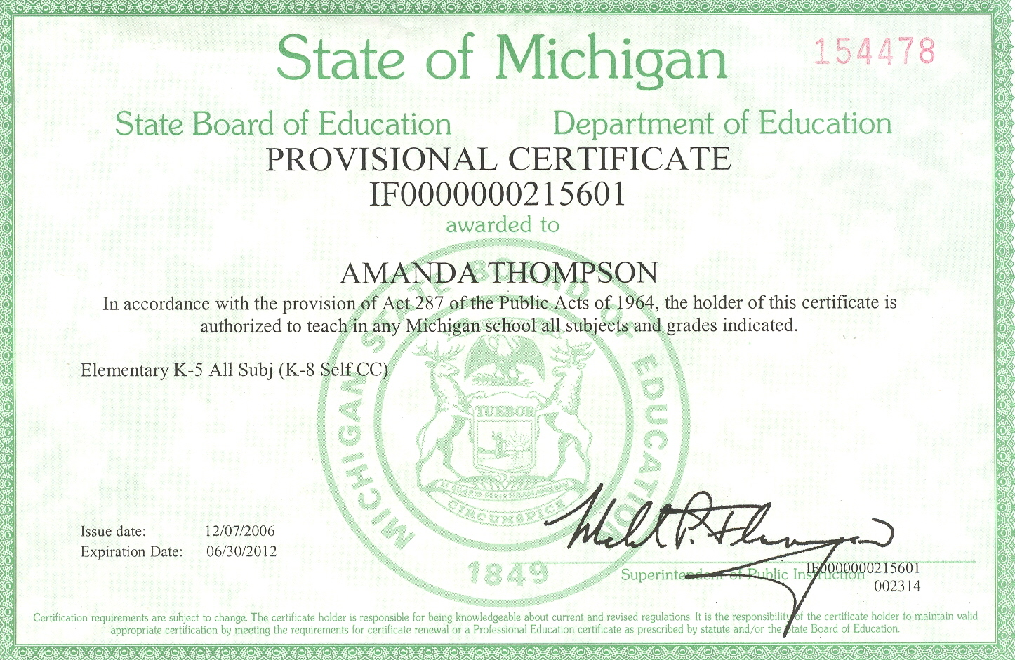 Teaching Certificate Michigan Choice Image Free Certificates For All